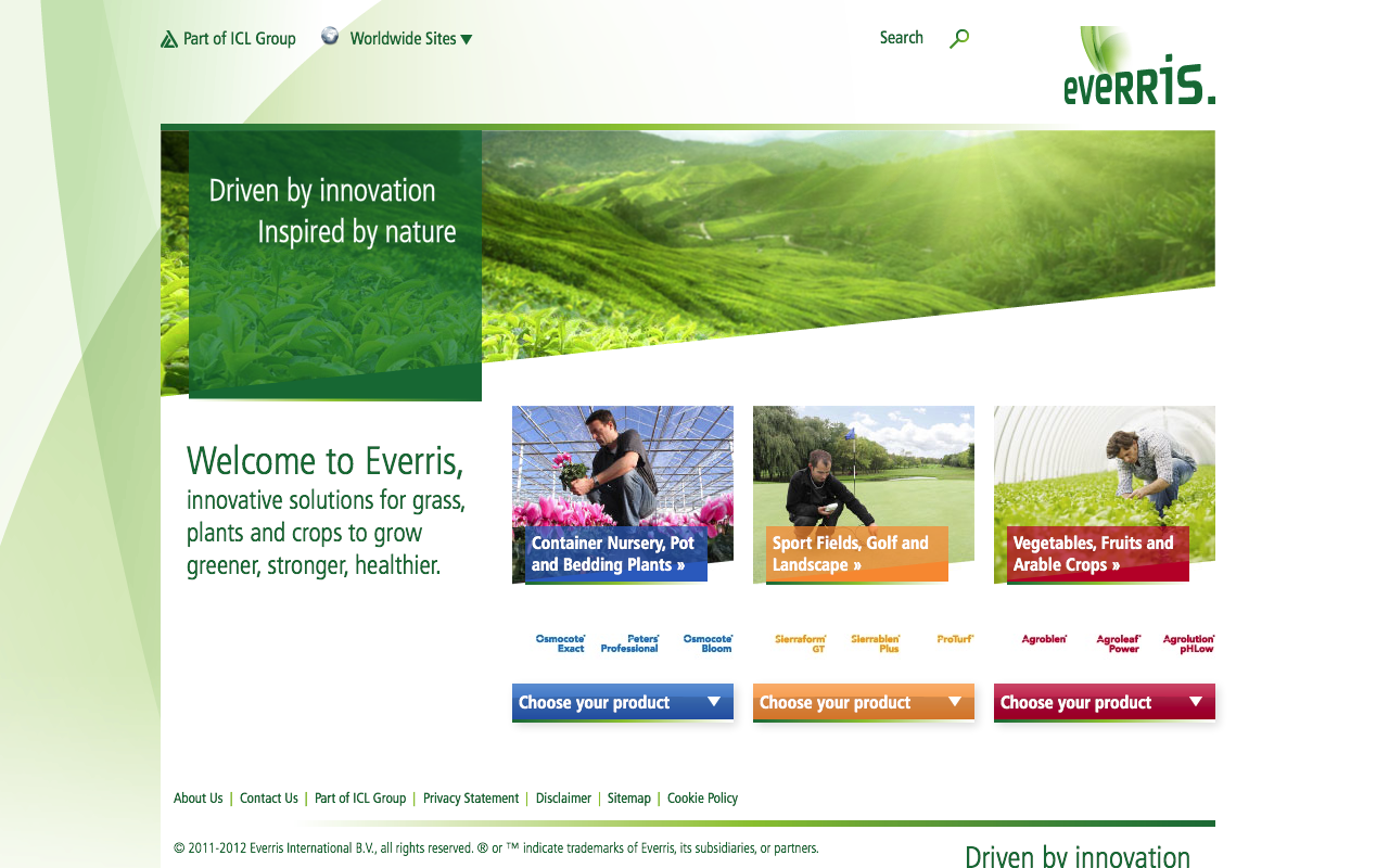 Everris – Landingpage - desktop
